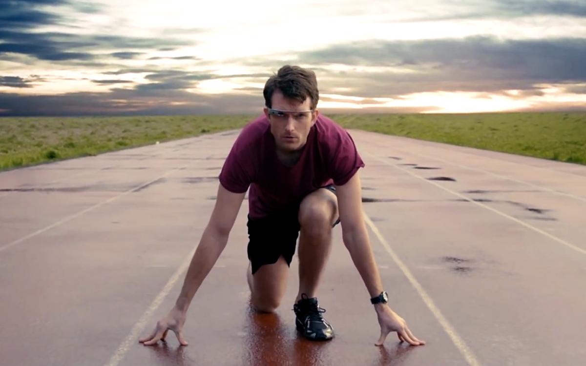man preparing to run